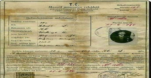 1928-1929 Atatürk Türkiyesi ve İmam Hatip mezunlarına verilen diploma..