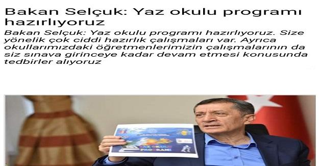 Bakan Ziya Selçuk Açıkladı: Yaz Okulları Geliyor