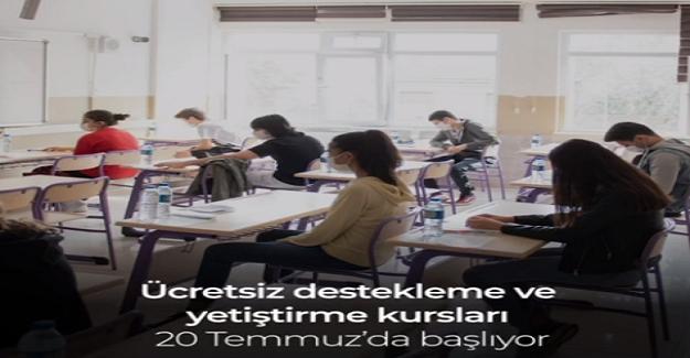 12 Sınıflar İçin Ücretsiz Destekleme Ve Yetiştirme Kursları 20 Temmuz'da Başlıyor