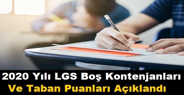 2020 Yılı LGS Boş Kontenjanları ve Taban Puanları Açıklandı