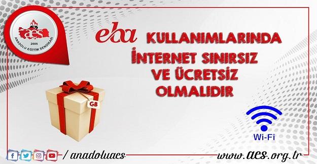 EBA kullanımı için internet ücretsiz ve sınırsız olmalıdır...