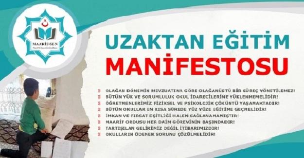 Maarif Sen'den Uzaktan Eğitim Manifestosu