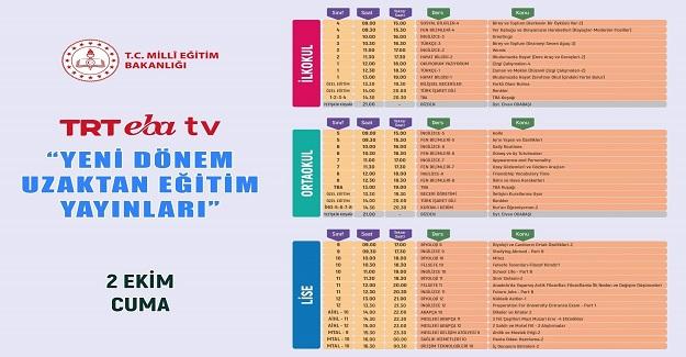 TRT EBA Tv Yeni Dönem Uzaktan Eğitim Programı