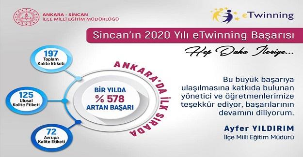 2020 eTWINNING'DE SİNCAN İLÇE MİLLİ EĞİTİM DAMGASI