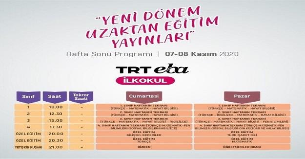 TRT EBA Kanalları Hafta Sonu Yeni yayın Dönemi