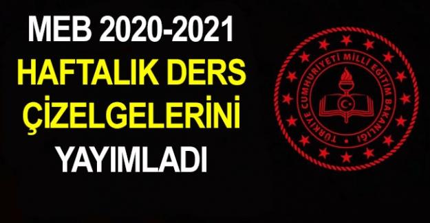 2020-2021 Yılı Meslek Lisesi 9. Sınıf Haftalık Ders Çizelgesi
