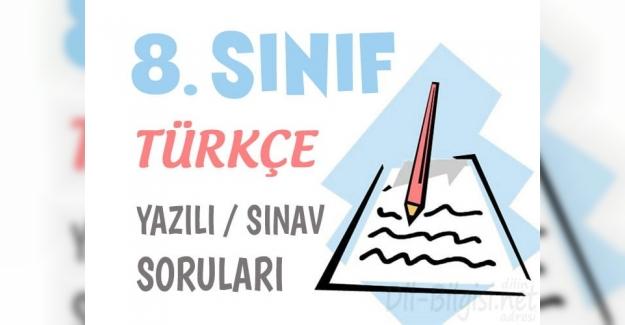 8. Sınıf Türkçe 1. Dönem 1. Sınav Soruları