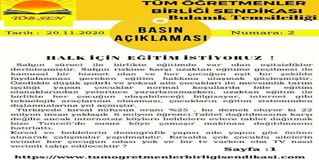 EĞİTİMDE FIRSAT EŞİTLİĞİ SAĞLANMALIDIR !