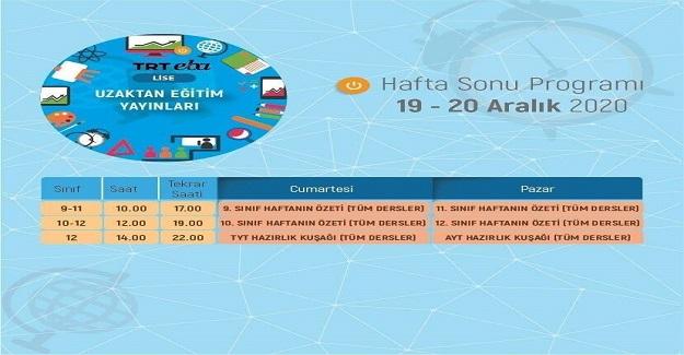 TRT EBAKanallarında Hafta Sonu (Güncel)