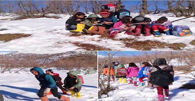 Köy Öğrencileri EBA'ya Girmek İçin Kar İçinde Eksi-10 Derecede Saatlerce Şebeke Arıyor