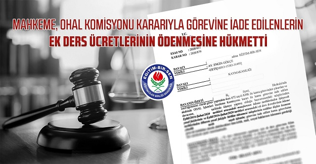 Mahkeme ek ders ücretlerinin ödenmesine hükmetti
