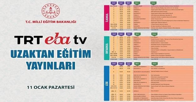 TRT EBA TV 11 Ocak Uzaktan Eğitim yayınları