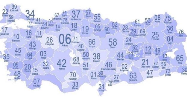 Türkiye 81 İl Plaka Kodları, Hangi İlin Plakası Kaç?