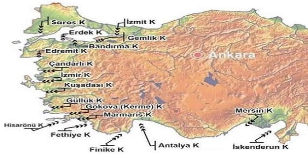 TÜRKİYE'DE BULUNAN EN ÖNEMLİ KÖRFEZLER VE İSİMLERİ