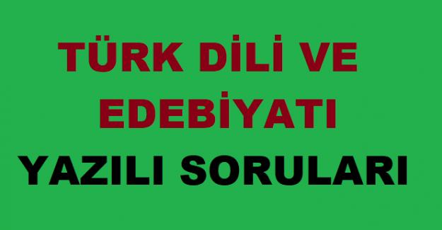 12. Sınıf Türk Dili ve Edebiyatı 2. Dönem 1.Yazılı Soruları ve Cevapları