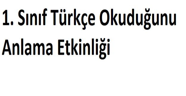 1. Sınıf Türkçe Okuduğunu Anlama Etkinliği