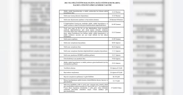 2021 Yılı Yönetici Görevlendirme Takvimi