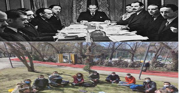 Savaşın ortasında Atatürk öğretmenlerle Maarif kongresinde