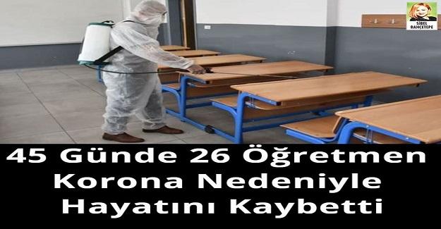 45 Günde 26 Öğretmen Korona Nedeniyle Hayatını Kaybetti