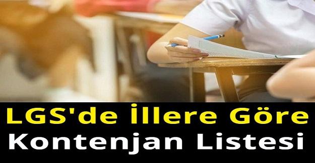 2021 Yılı LGS'de İllere Göre Kontenjan Listesi