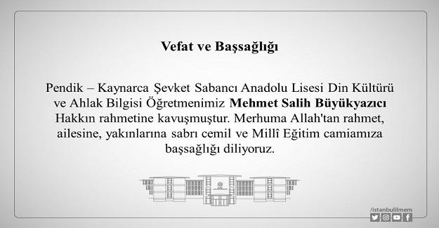 Mehmet Öğretmen Hayatını Kaybetti