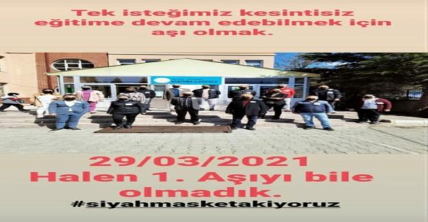 ÖĞRETMENLERDEN SİYAH MASKELİ PROTESTO