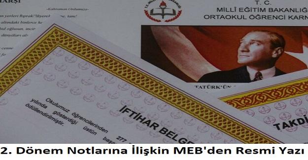 2. Dönem Notlarının Nasıl Verileceğine Dair, MEB'den Resmi Yazı