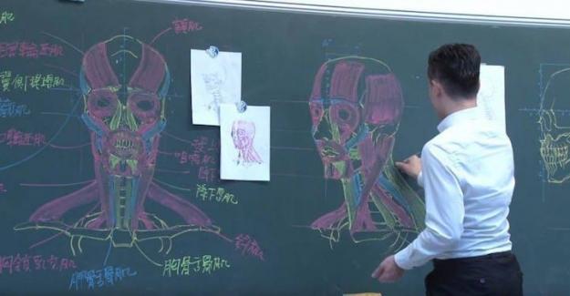 Tebeşir ile Anatomi Dersinde Muhteşem Çizimler Yapan Öğretmen