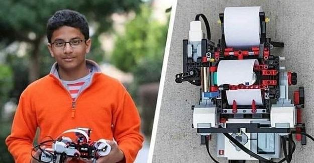 """7. Sınıf Öğrencisi LEGO bloklarını kullanarak """"braille yazıcı"""" üretti"""