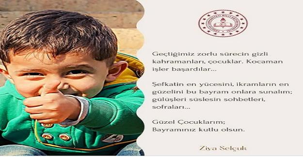 Bakan Ziya Selçuk'tan Bayram Mesajı