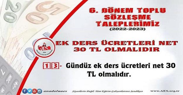 EK DERS ÜCRETLERİ NET 30 TL OLMALIDIR