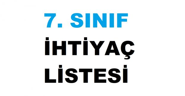 2021-2022 7. Sınıf Okul İhtiyaç Listesi