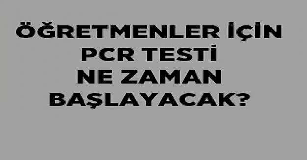 Öğretmenler PCR Testini Ne Zaman Verecek?