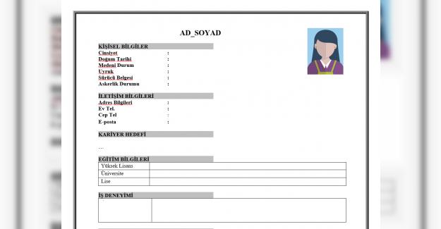 CV Örnekleri, Word, Pdf ve Excel