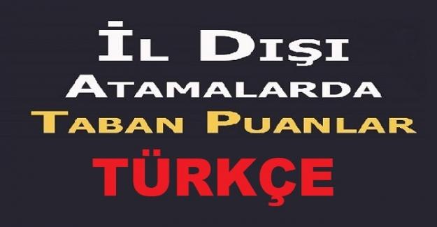 Türkçe 2021 İl Dışı Atama Puanları