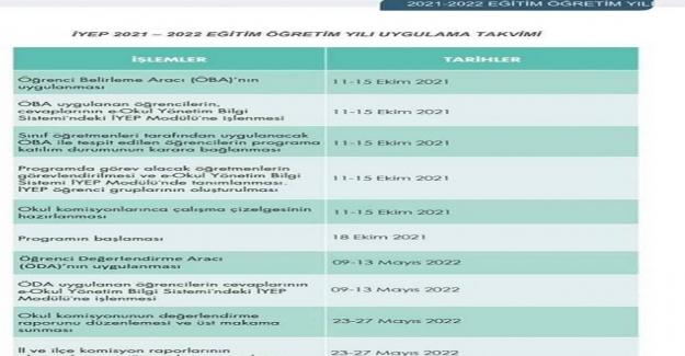 2021-2022 Eğitim Öğretim Yılı İYEP Uygulama Takvimi