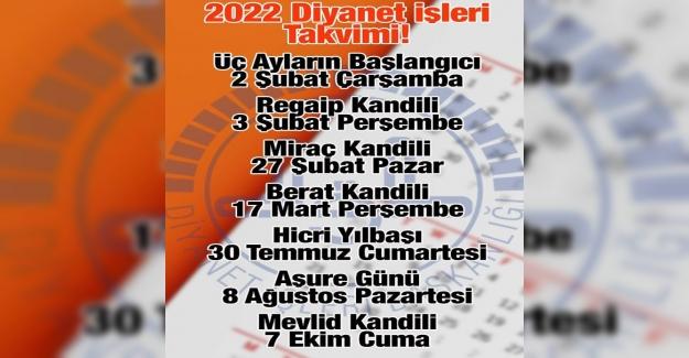 2022 YILI DİNİ GÜNLER LİSTESİ