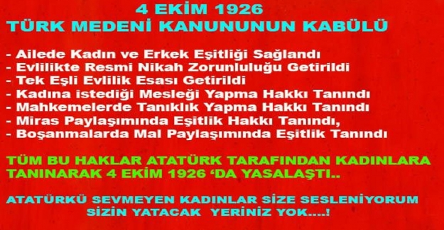 4 Ekim 1926 Türk Medeni Kanunun Kabulü
