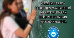 Türk Eğitim Sen: Ortaokullarda Öğretmen Mazeretleri Dikkate Alınarak Ders Programları Hazırlamalıdır