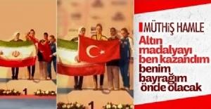 Şampiyon tekvandocumuzdan İranlı rakibine Türk Bayrağı dersi