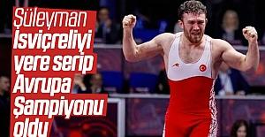 92 kilo finalinde Süleyman Karadeniz, İsviçreli Samuel Scherrer'i Yenerek Avrupa Şampiyonu Oldu