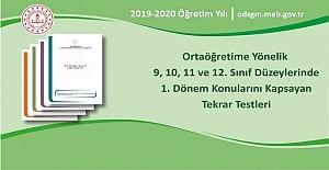 9, 10, 11 ve 12. Sınıf Düzeylerinde 1. Dönem Konularını Kapsayan Tekrar Testleri MEB Tarafından Yayımlandı