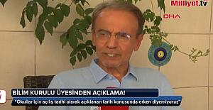 Bilim Kurulu Üyesi Prof. Dr. Mehmet Ceyhan'dan, Okulların Açılışına Dair Çarpıcı Açıklama