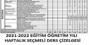 2021-2022 EĞİTİM ÖĞRETİM YILI HAFTALIK SEÇMELİ DERS ÇİZELGESİ