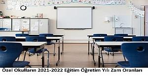 Özel Okulların 2021-2022 Eğitim Öğretim Yılı Zam Oranları