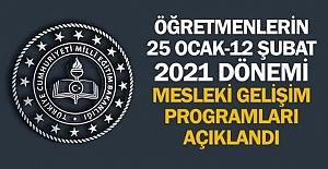 2021 Dönemi Öğretmenlerin Mesleki Gelişim Programları Duyurusu