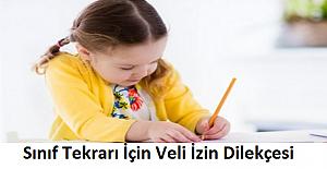 Sınıf Tekrarı İçin Veli İzin Dilekçesi