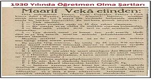 1930 Yılında ortaokullara öğretmen ihtiyacı için verilmiş gazete ilanı