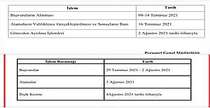 2021 Yılı İl içi ve il dışı atama takvimleri