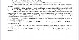 2021-2022 Eğitim Öğretim Yılı Mesleki Çalışma Takvimi